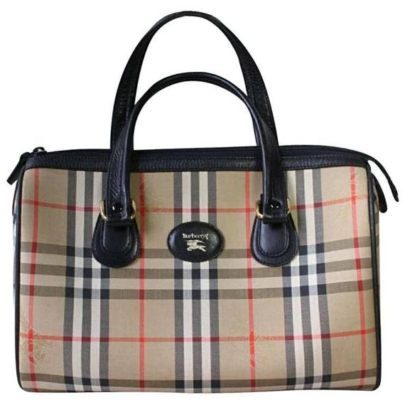 Vintage Burberry classic beige nova check speedy bag style handbag with  black leather trimmings. Classic Burberry handbag 09c56ebb98020