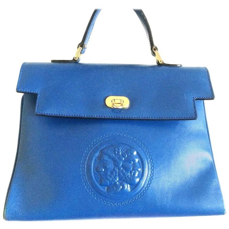 8d46bbd907de Vintage Fendi blue leather classic kelly style handbag with