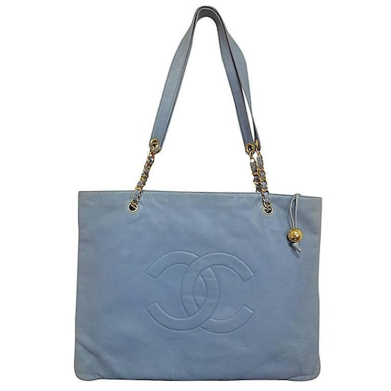 2d31a6cfb6b0 Vintage CHANEL milky blue calf leather extra large chain