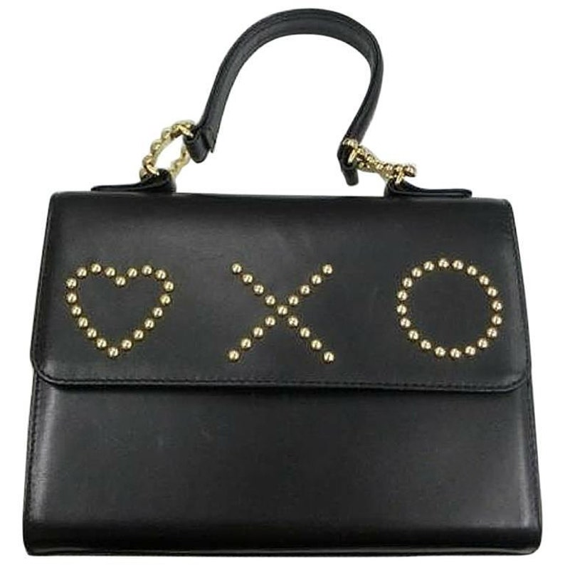 5abaef18a5 Vintage MOSCHINO black leather handbag in classic kelly purse