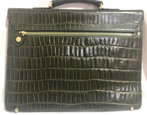 1f0bcc5e3c09 Vintage Gianni Versace dark green khaki croc embossed leather