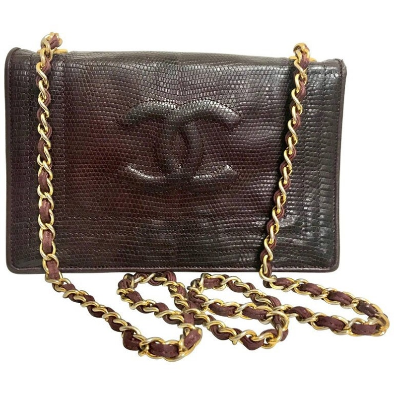 Vintage CHANEL genuine dark wine brown lizard leather chain  fcb7754f98ba2