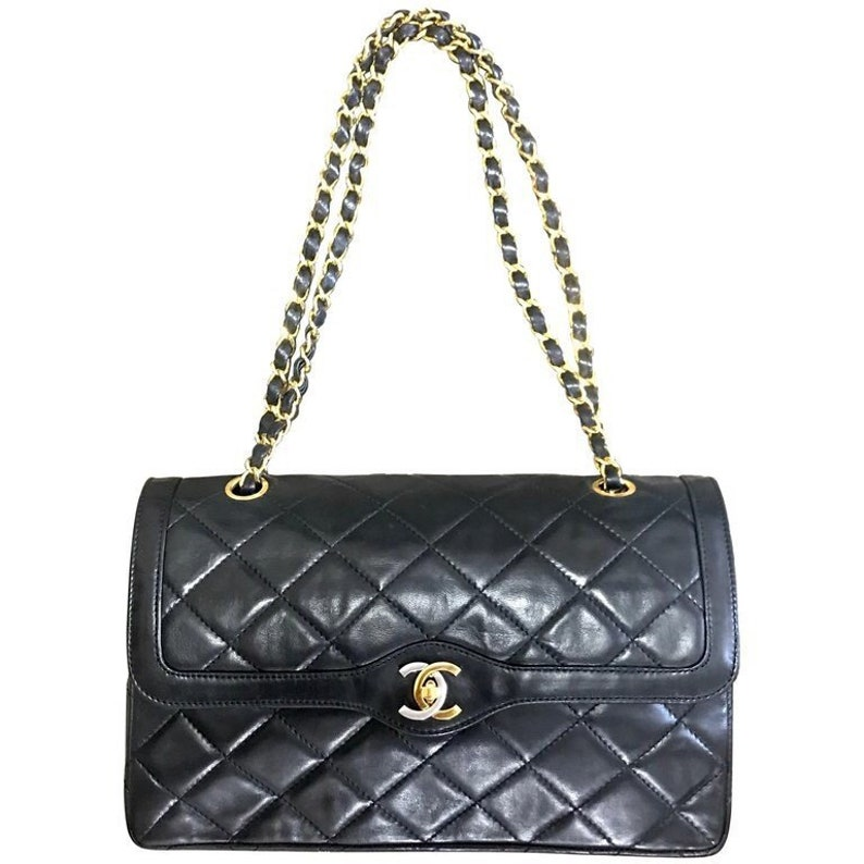 3dc98c0c8c2323 Vintage Chanel black lamb 2.55 double flap chain shoulder bag | Etsy