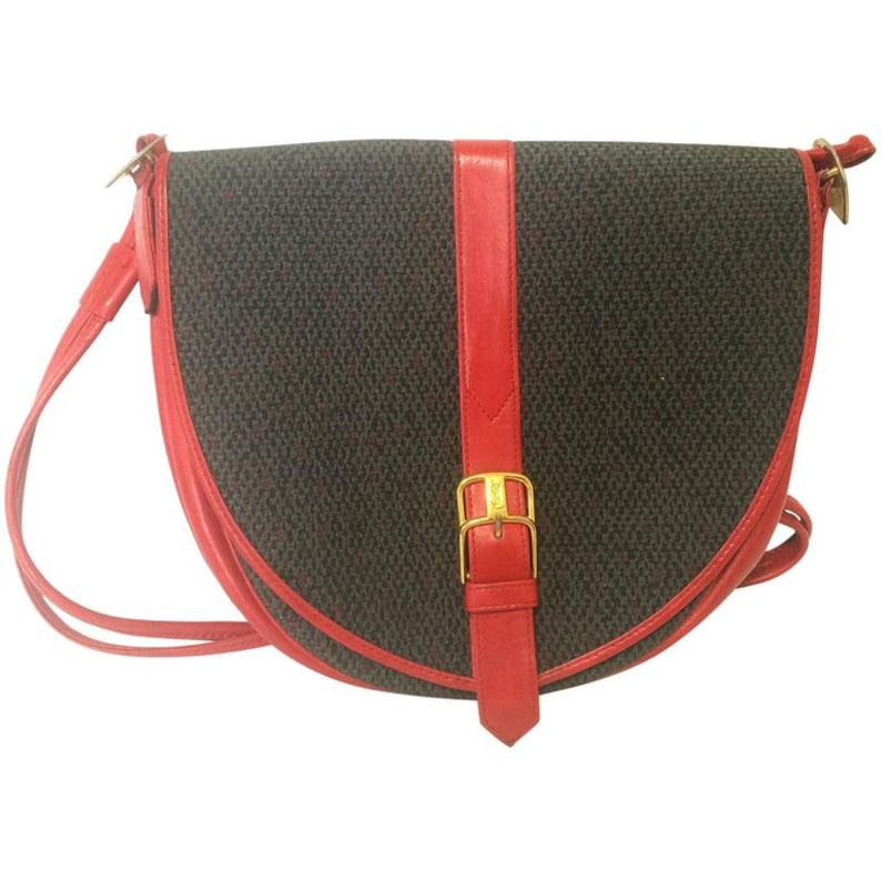894c6436b6e Vintage Yves Saint Laurent oval navy shoulder bag with red