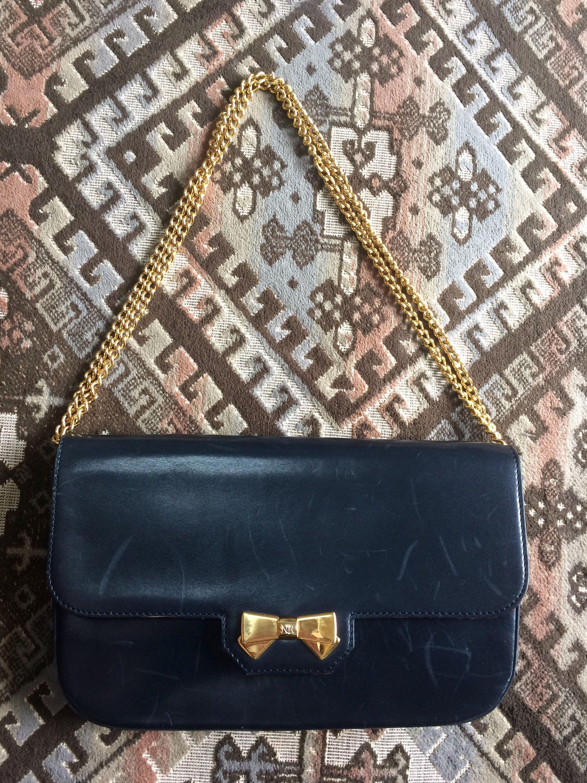 a0898fe44ce7 Vintage Nina Ricci navy leather clutch chain shoulder bag
