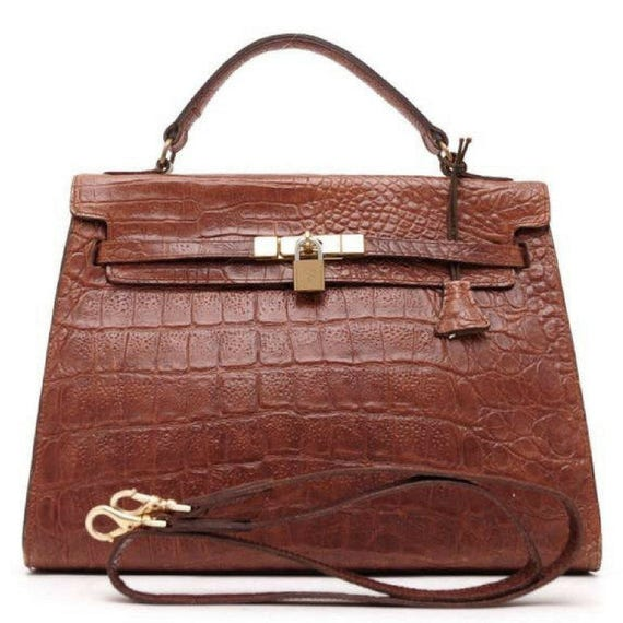 Vintage Mulberry croc embossed leather Kelly bag with shoulder   Etsy c7ff088c99