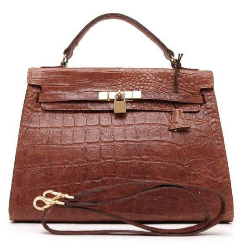 77fec0e66126 Vintage Mulberry croc embossed leather Kelly bag with shoulder
