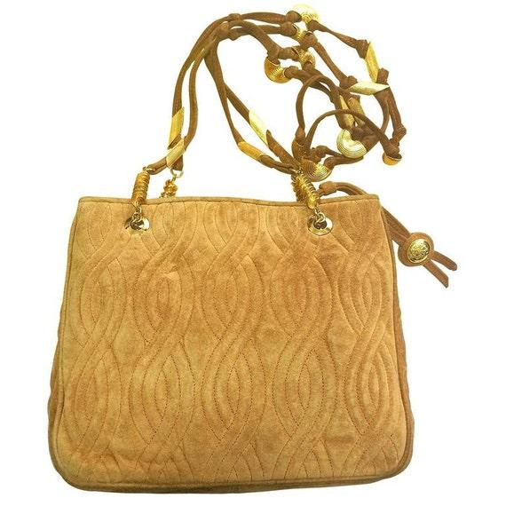 Fendi Vintage Fendi Tanned Brown Suede Twisted Rope Stitch Handbag, Golden Handles