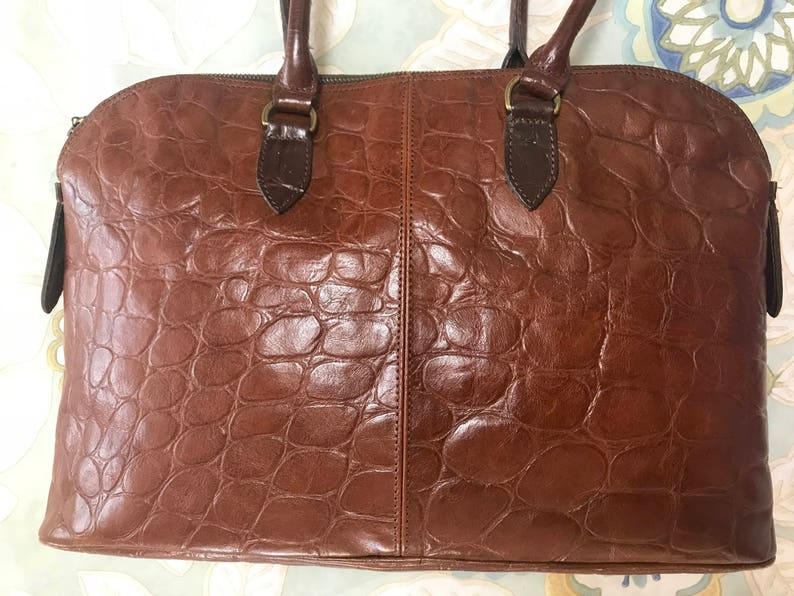 dff0d42081f5 Vintage Mulberry croc embossed brown leather large tote in bolide ...