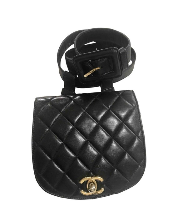 71c363d697 Vintage CHANEL oval shape 2.55 black fanny pack, belt bag with round flap  and golden CC closure hock. Rare must have piece.