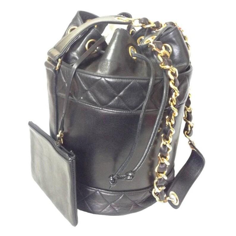2f714f8fd2c8 MINT. Vintage CHANEL black lambskin bucket hobo drum shoulder | Etsy