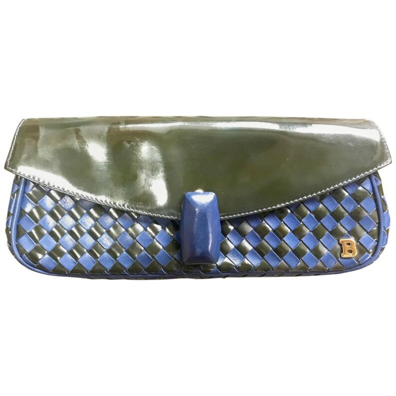 6ad34c0960 Vintage Bally black and blue enamel intrecciato design leather