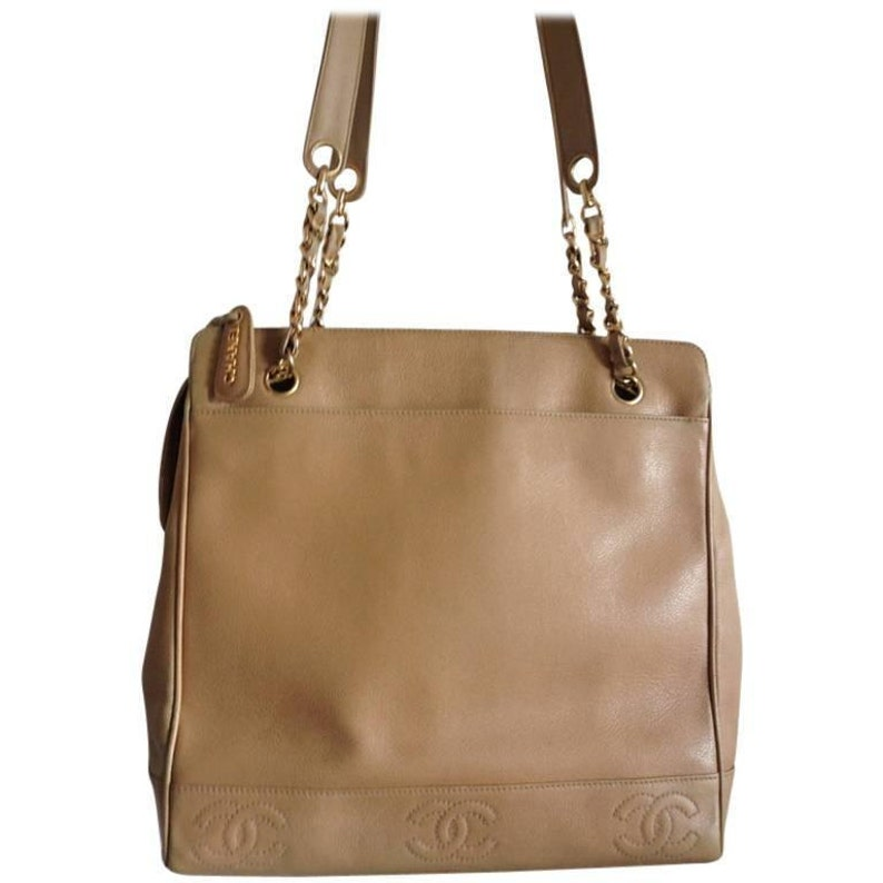 db44e947d880 Vintage CHANEL brown beige caviar leather chain tote bag