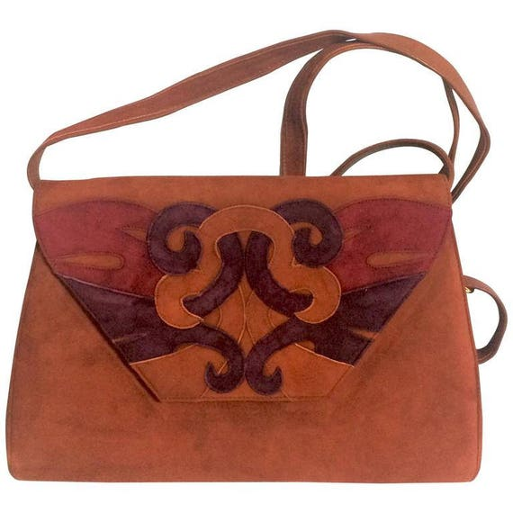 Vintage Bally brown red and purple suede leather ethnic  63181d2f83dc8