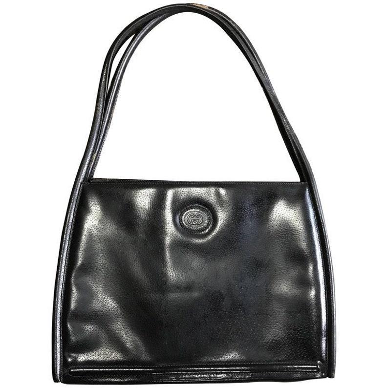 51678561c56 Vintage Gucci black pigskin large trapezoid shape shoulder bag | Etsy