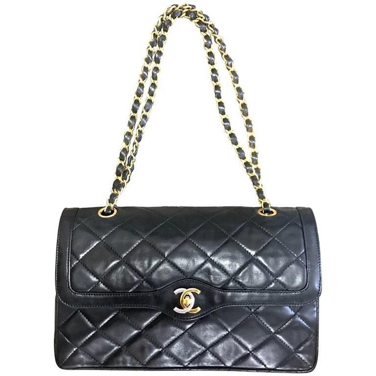 Vintage Chanel black lamb 2.55 double flap chain shoulder bag  a7bc330ba675e