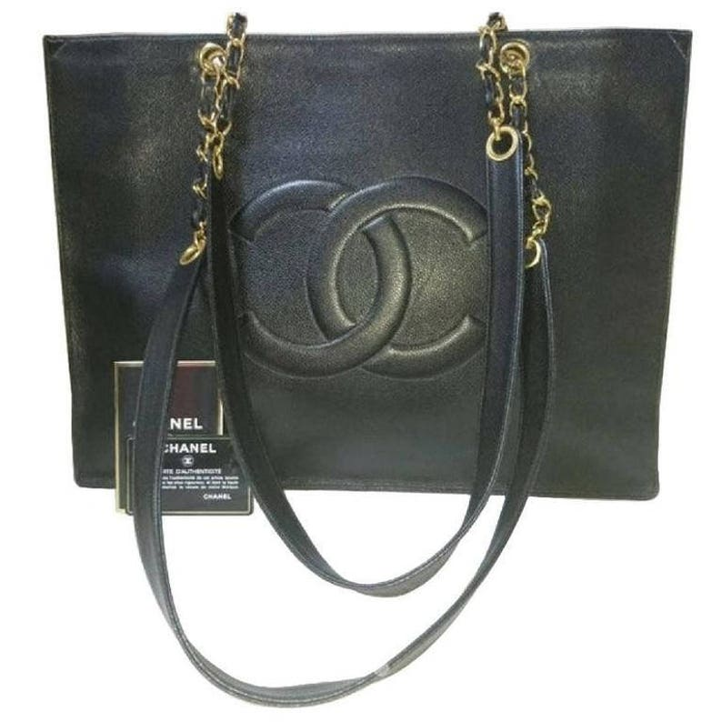 d2d4a66047f577 Vintage CHANEL black caviar leather extra large tote bag with | Etsy