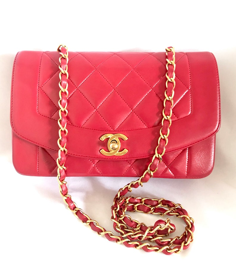 f52480cd4f87 Vintage CHANEL lipstick red lambskin classic 2.55 flap chain shoulder bag
