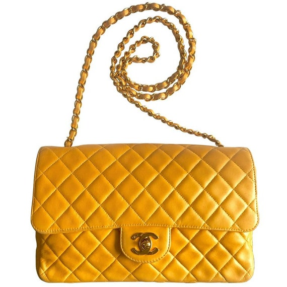 052a8902a274 Vintage Chanel classic 2.55 rare yellow color soft lamb