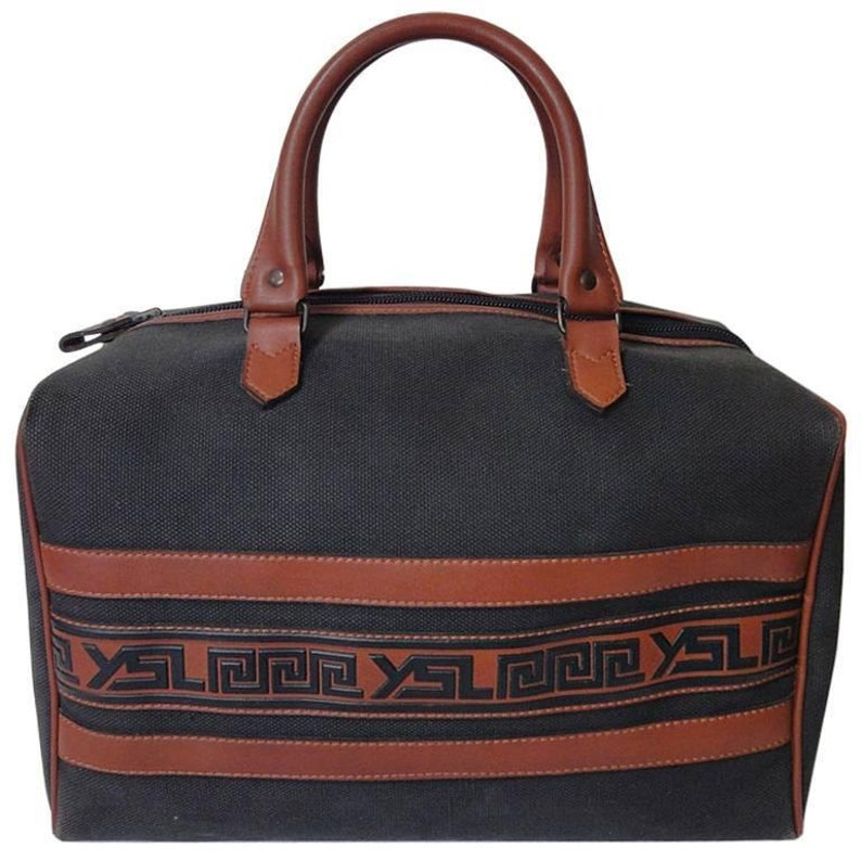 f274ff0edf07 Vintage Yves Saint Laurent charcoal grey canvas and brown