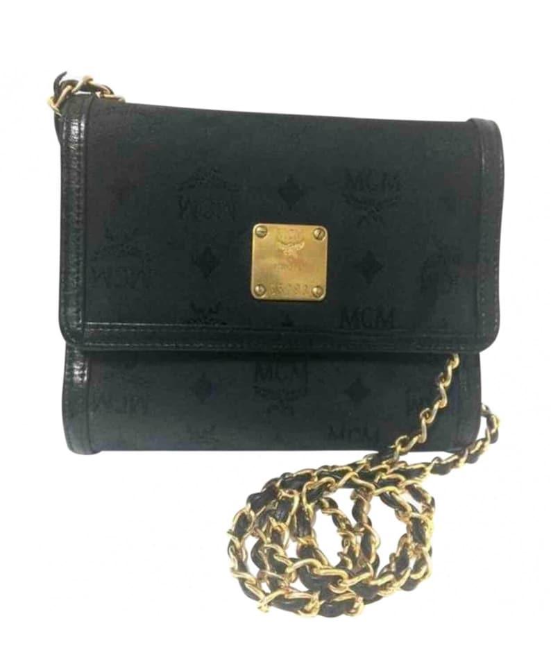0cb7ae8e5ab337 Vintage MCM black nylon monogram rare clutch shoulder bag with | Etsy