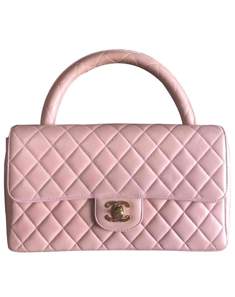 442e3cc226cb Vintage CHANEL milky pink color lambskin classic 2.55 handbag | Etsy