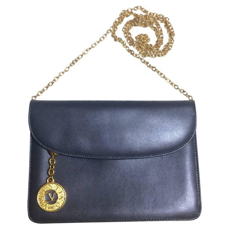 Vintage Valentino Garavani gray leather chain shoulder bag