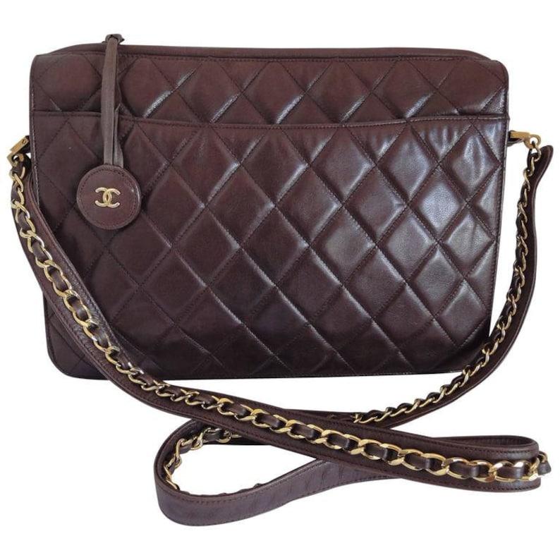 be55d8bd5cab 80's vintage Chanel dark brown quilted lambskin shoulder | Etsy