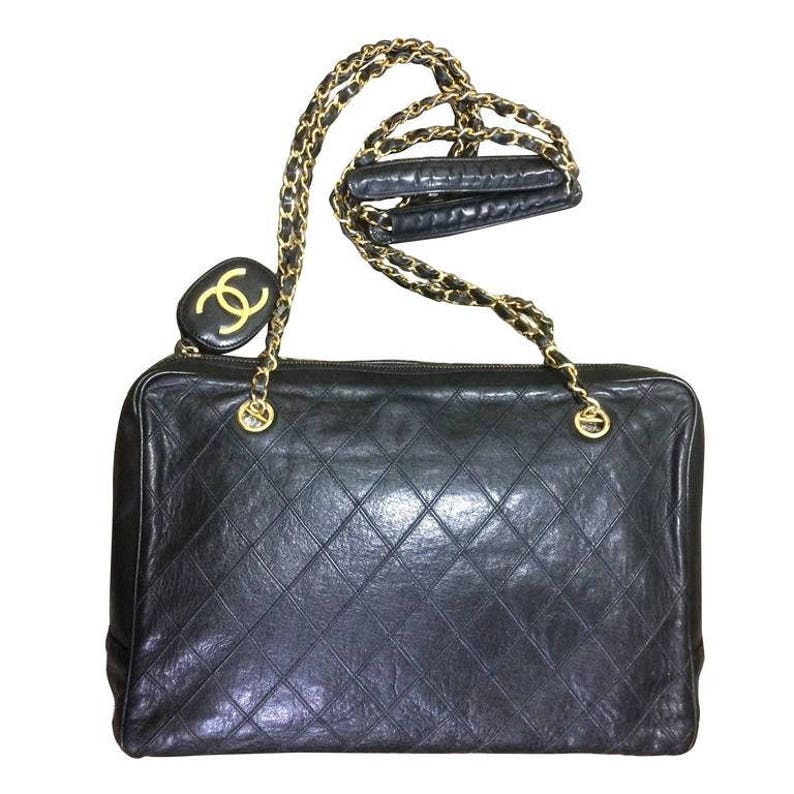 b68803ecbb Vintage CHANEL black goatskin shoulder bag with stiches gold | Etsy