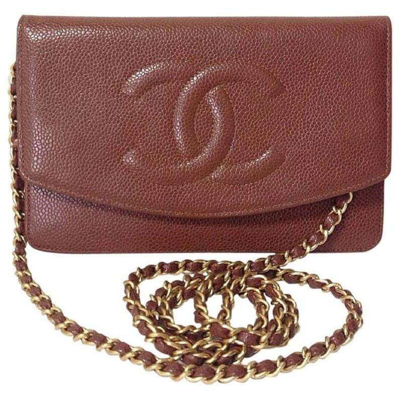 b4cc9996b9ece2 MINT. Vintage CHANEL brown caviar leather shoulder clutch bag | Etsy
