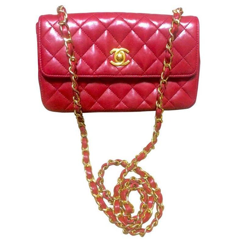 86dc70b385 Vintage CHANEL classic mini flap 2.55 shoulder bag in lipstick | Etsy