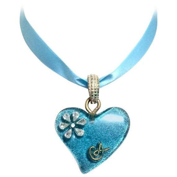 Vintage Christian Lacroix blue ribbon choker neckl
