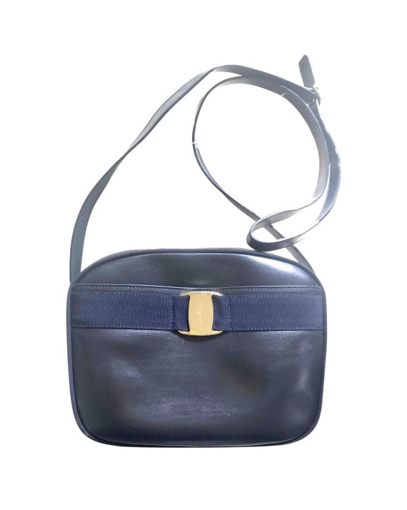 39814663c4ff Vintage Salvatore Ferragamo dark navy leather shoulder bag