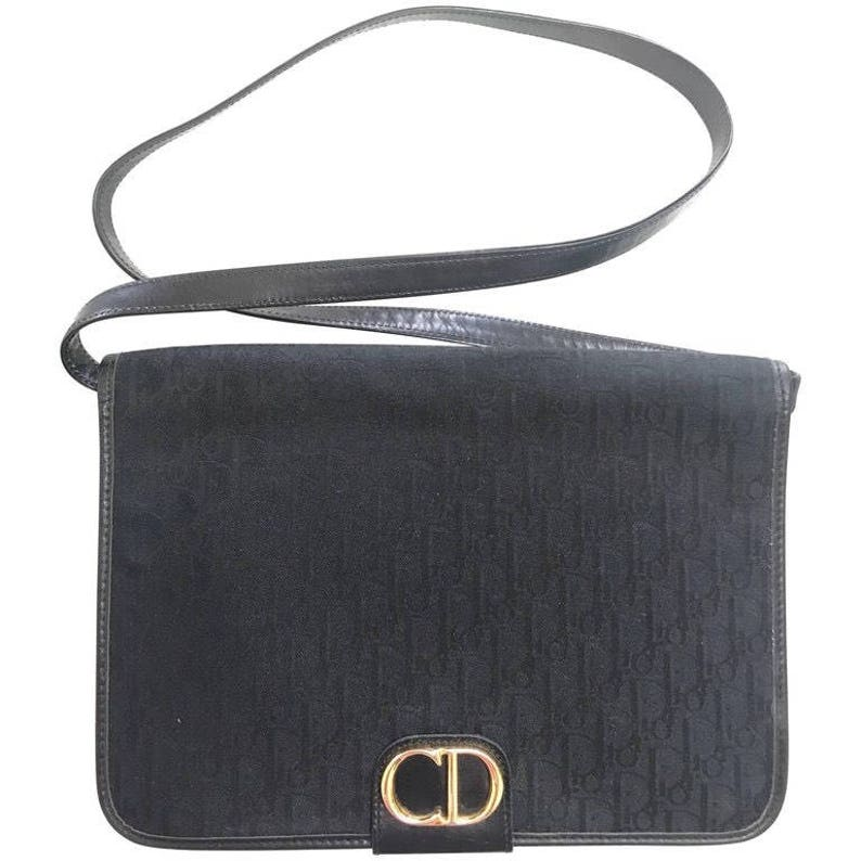 Vintage Christian Dior black logo jacquard shoulder bag  80c329219fccd
