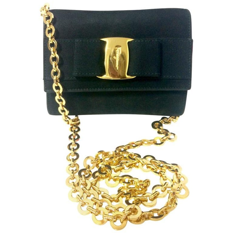 Vintage Salvatore Ferragamo black leather shoulder mini bag  a44872f4ba345