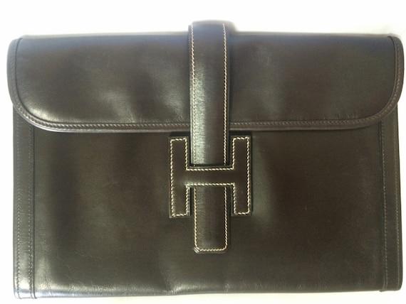 93e0a26b3576 90 s vintage HERMES jige document case dark brown