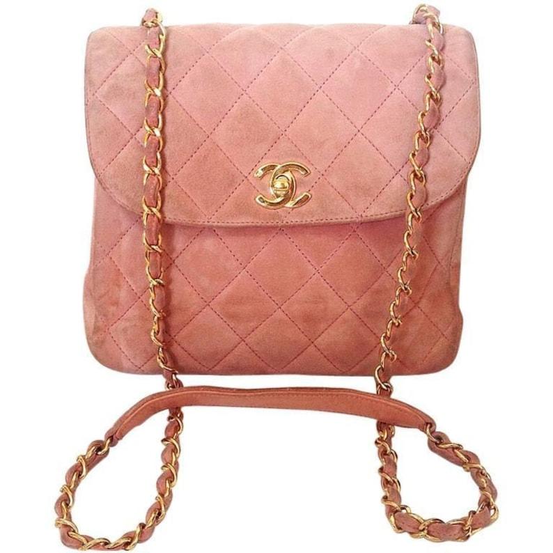 0e9cf657252f16 Vintage CHANEL light pink quilted suede 2.55 shoulder bag with | Etsy