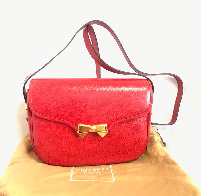 b535f9c1364e NEW. MINT. Vintage Nina Ricci red grained leather shoulder bag | Etsy