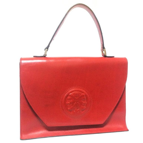 ab006cb6ca09 Vintage Fendi genuine red leather classic handbag with iconic