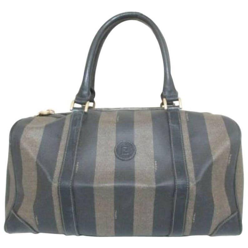 80f8473981 Vintage Fendi gray pecan stripe speedy style duffle bag