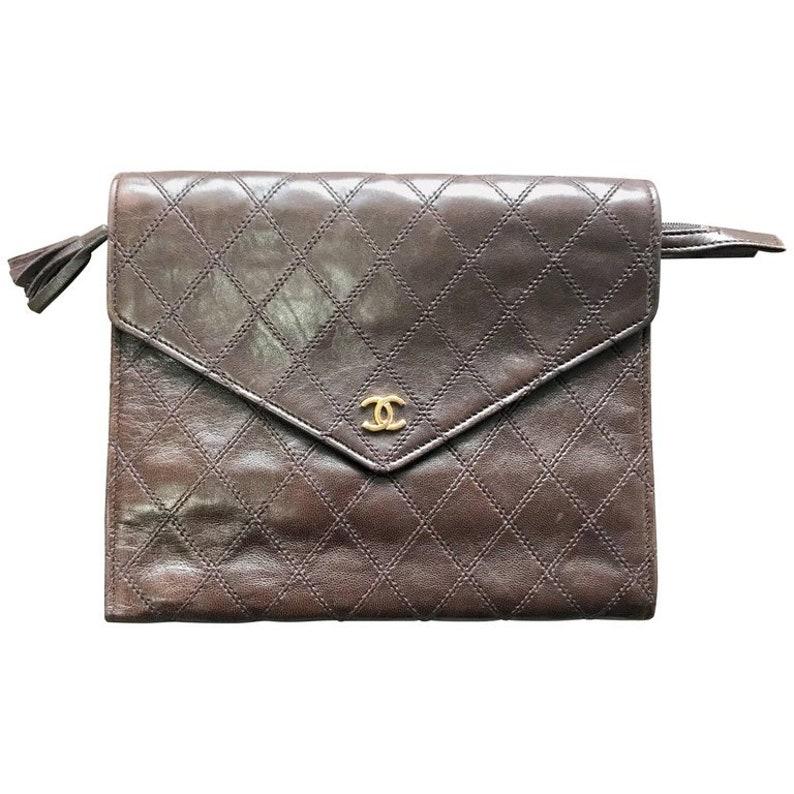 Vintage CHANEL brown goatskin clutch bag large wallet bill  853f68f191385
