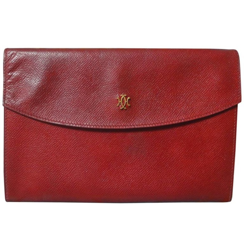 932933a9d1b1 Vintage HERMES brick red leather clutch purse with gold tone