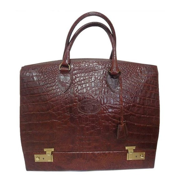MINT. Vintage Mulberry croc embossed leather birkin   Etsy a529247b2a