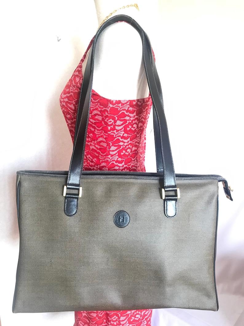 c41dd84c5e8 Vintage FENDI classic gray logo printed large shopper tote bag | Etsy