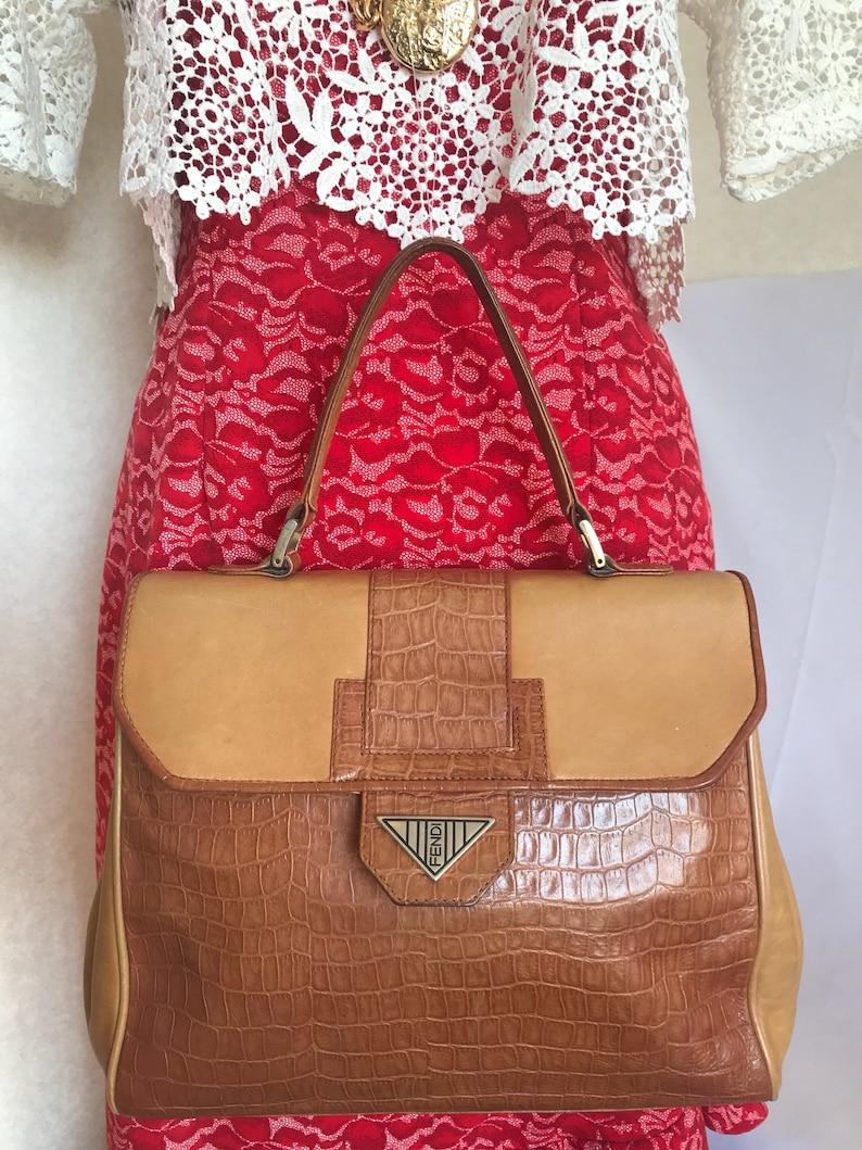 f5331548c6 Vintage Fendi genuine brown leather kelly style handbag with