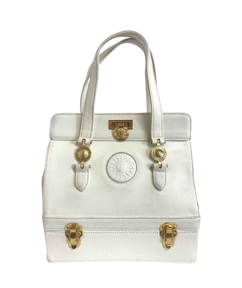 95cfda86 Vintage Gianni Versace ivory white caviar type leather birkin doctor's bag,  handbag with jewelry case and golden sun burst motifs.