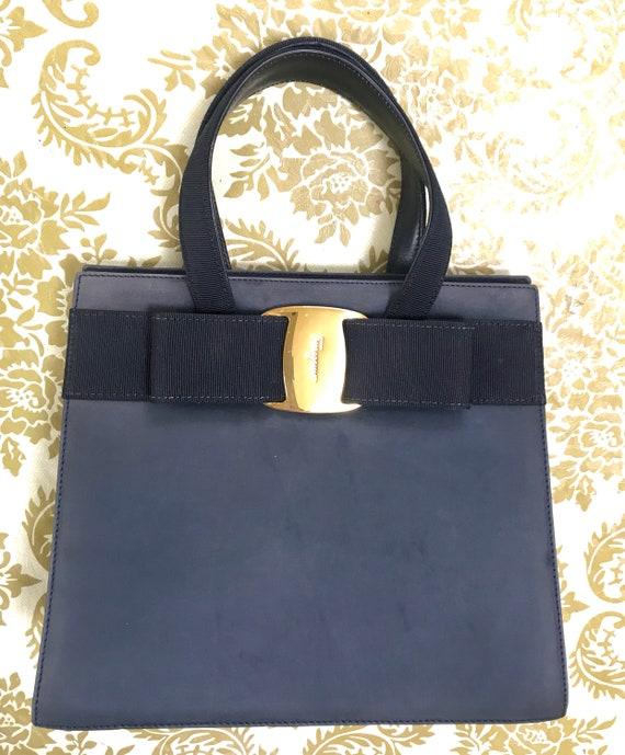 3a376e67d3d7 Vintage Salvatore Ferragamo navy grey suede leather handbag