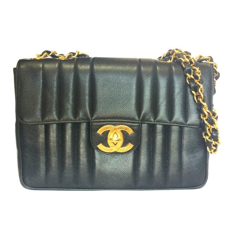 044c9de1495a44 Vintage CHANEL black 2.55 jumbo caviar leather large shoulder | Etsy