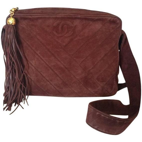 672398ce16aa Vintage CHANEL dark brown V stitch suede leather shoulder bag