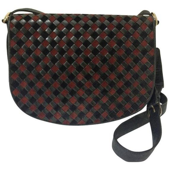 Vintage Bottega Veneta intrecciato woven suede leather  b0830529ad25f